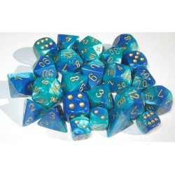 CHESSEX - Set de 10 dés 10 - GEMINI - Bleu-Sarcelle/Or