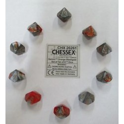 CHESSEX - Set de 10 dés 10 - GEMINI - Orange-Acier/Or