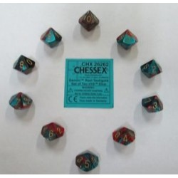 CHESSEX - Set de 10 dés 10 - GEMINI - Rouge-Sarcelle/Or