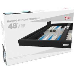 Backgammon Premium 48 cm - Extérieur Noir et Intérieur Bleu/Blanc