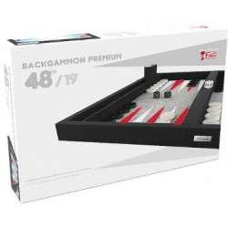 Backgammon Premium 48 cm - Extérieur Noir et Intérieur Rouge/Blanc