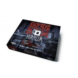 Escape Box Horreur - Contient : 3 livrets, 131 cartes, 1 bande-son de 60 minutes, 1 poster, 6 badges