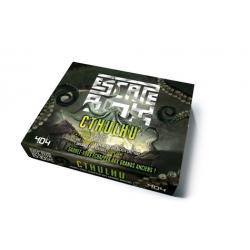 Escape box Cthulhu - Contient : 3 livrets, 131 cartes, 1 bande-son d'une heure, 1 poster, 6 badges