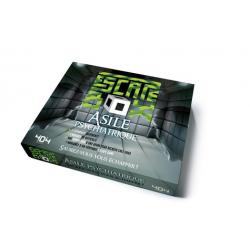 Escape box Asile psychiatrique - Contient : 3 livrets, 131 cartes, 1 bande-son de 60 minutes, 1 poster, 6 badges
