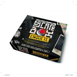 Escape box Enquête - Contient : 1 livret, 40 cartes, 1 bande-son de 60 minutes, 1 poster